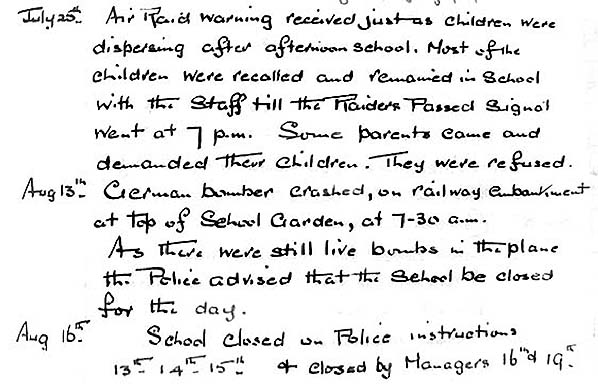 Barham school diary extract from 1940
