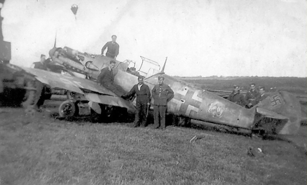 Messerschmitt Bf 109E-3 4./JG 51, White 4, Johann Böhm, WNr 1162 being recovered from Bladbean, Kent, August 1940