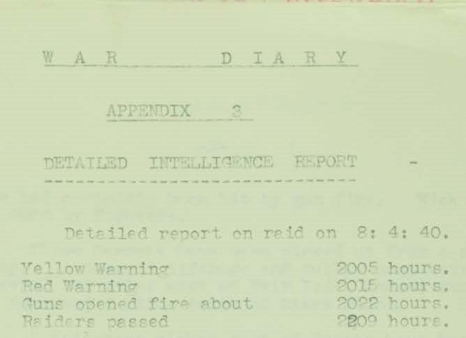 War Diary Appendix 3 showing times of raid on 8.4.1940