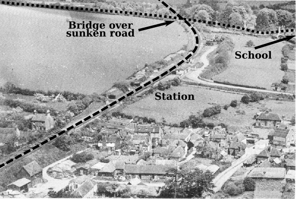 Aerial view of Barham station, 1936