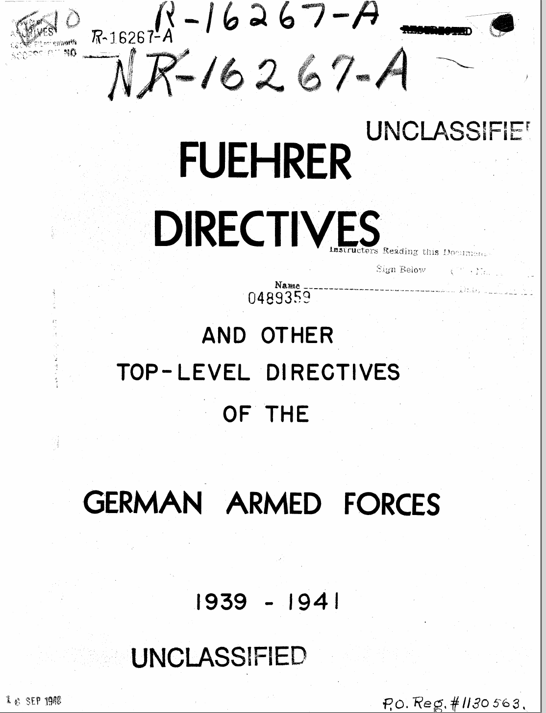 Cover of the Fuehrer Directives